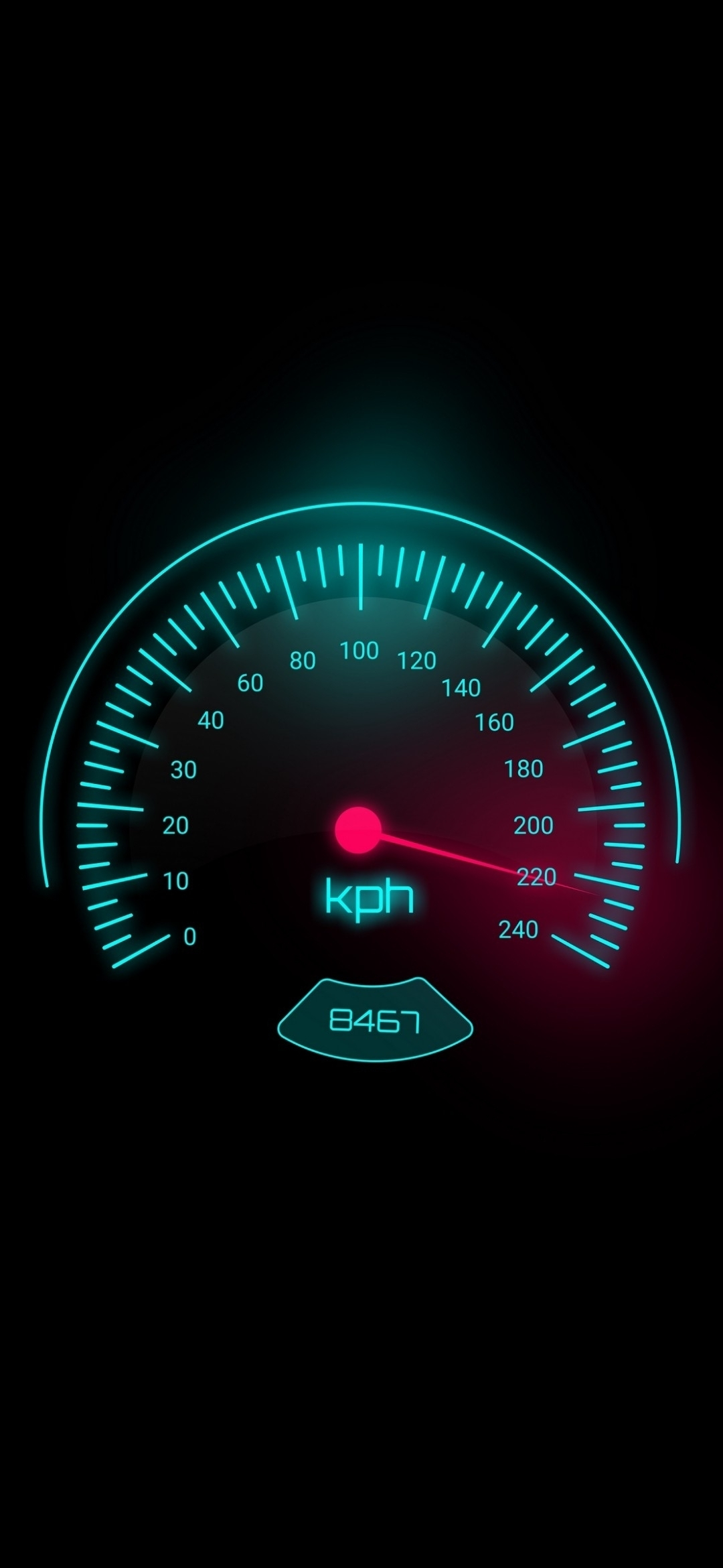 Car Speedometer at 220 kph
