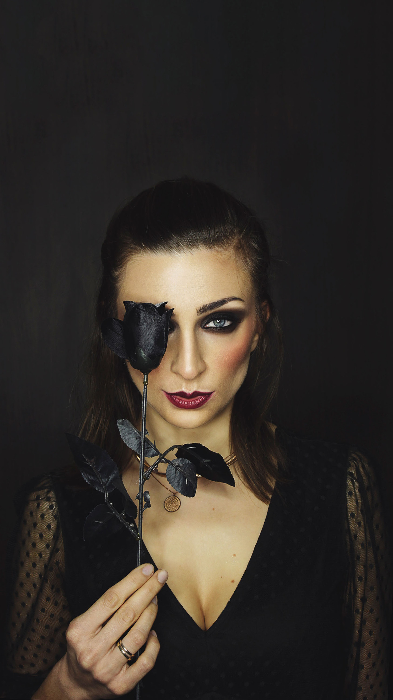 Girl With Black Rose Photo