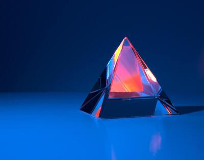 3D Glass Colourful Pyramid