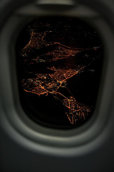A Night View of a City From a Plane
