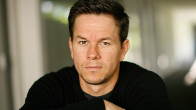 Actor Mark Wahlberg in Black T-shirt