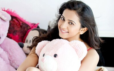 Actress Rakul Preet Singh With Teddy Bear