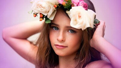 Baby Girl with Flower Decoration on Head