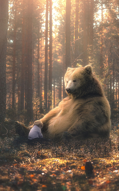 Bear Sitting With Cute Baby Creative Photo