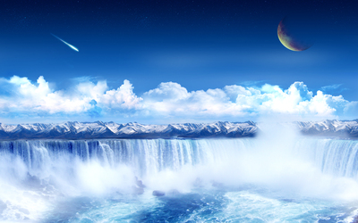 Cloud Mountain Waterfall and Moon Fantasy Photo