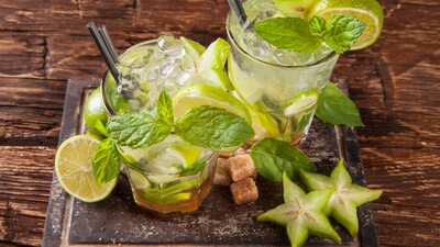 Cocktail Drink with Carambola and Mint