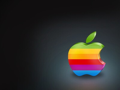 Colorful Apple Logo with Black Background