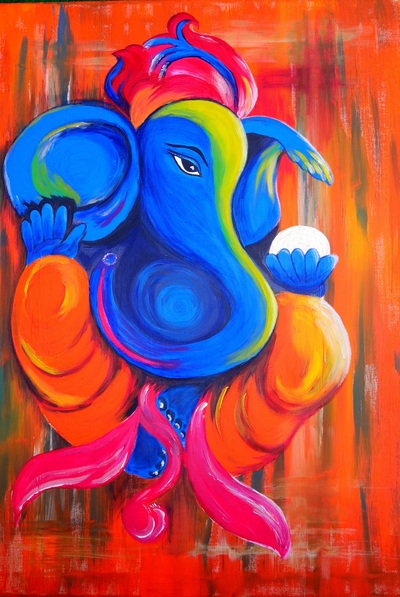 Colorful Ganesha Painting Mobile Wallpaper