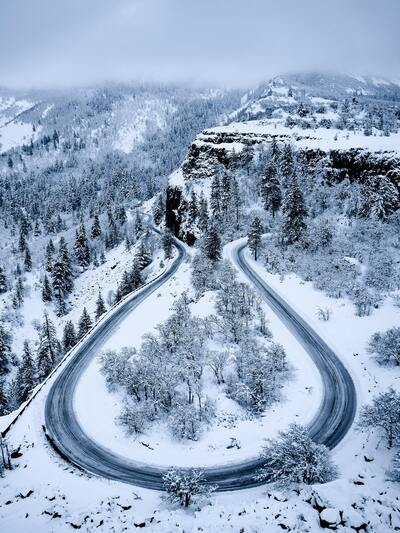 Curved Road During Winter