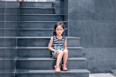 Cute Baby Girl Sitting on Stairs