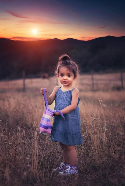 Cute Baby in Farm