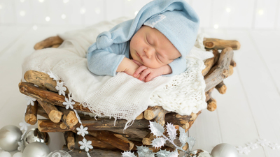 Cute Baby Sleeping 5K Wallpaper