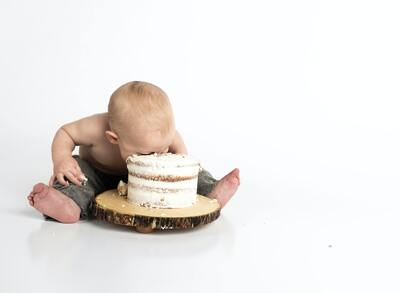 Cute Baby with Cake
