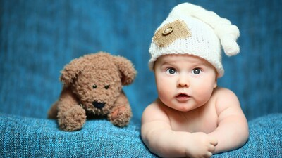 Cute Baby With Teddy 4K