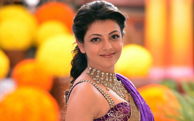 Cute Kajal in Purple Saree Photo