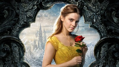 Emma Watson with Red Flower 5K Wallpaper