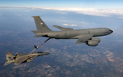 F15 Eagle Receives Fuel From Boeing KC 135 Stratotanker
