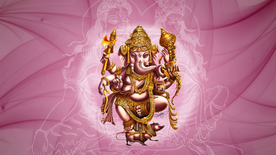 Ganesha with Pink Background