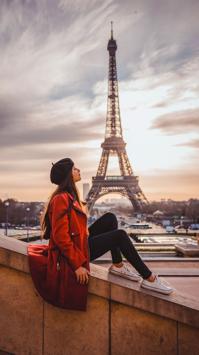 Girl in Paris Near Eiffel Tower Photography