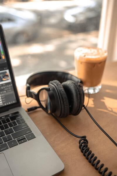 Headphone Laptop and Tea Best Time Wallpaper