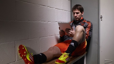 Lionel Messi Reading On Tablet