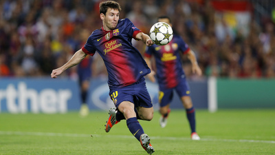 Lionel Messi Striking Football