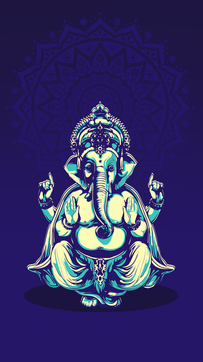 Lord Ganesha Mobile Blue Background Wallpaper