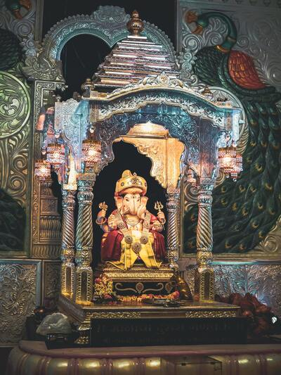 Lord Ganesha Temple with Light