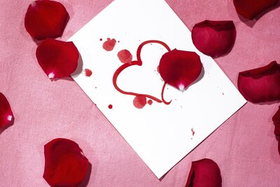 Love Heart Card And Petals