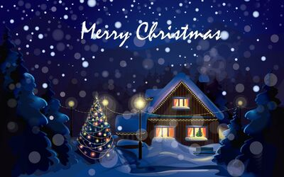 Merry Christmas Home Decoration Blue Background