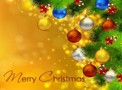 Merry Christmas Yellow Background Pics