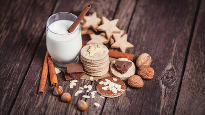 Milk with Spices Cinnamon Nuts Walnuts Hazelnuts and Almonds