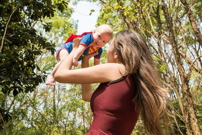 Mother Play with Baby Superman