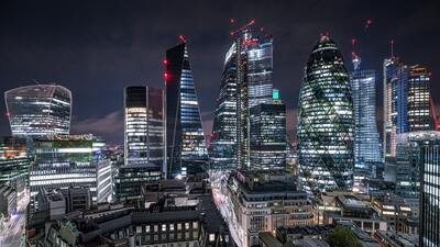 Night View of The Square Mile in London 4K