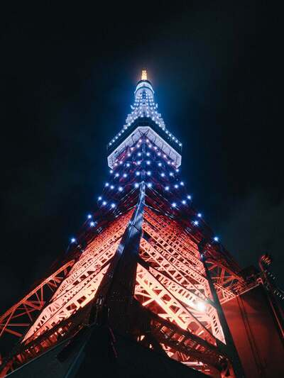 Night View of Tokyo Tower in Japan