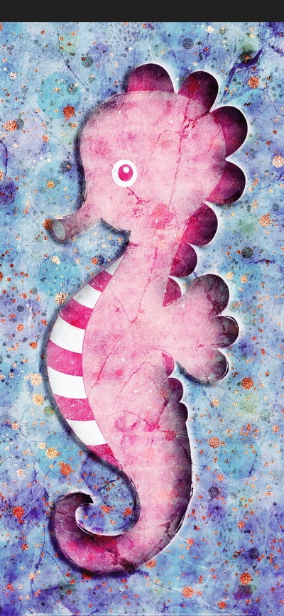 Pink Seahorse Painting on Floor