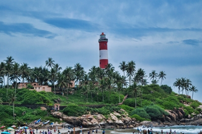 Vizhinjam Kovalam Lighthouse on Beach in Kerala