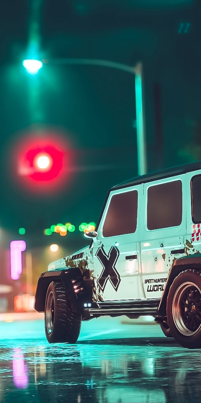 White Jeep Car at Night View