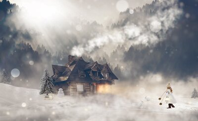 Winter Home with Bokeh and Girl