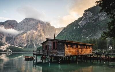 Wooden House in Water Beautiful Nature Pic